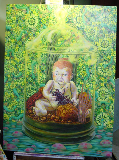 I have added another yellow glaze on the background. The colors had been getting a bit garish, and I wanted to unify them a little more. I also changed my mind on the table/stamp concept and went with a water garden instead.