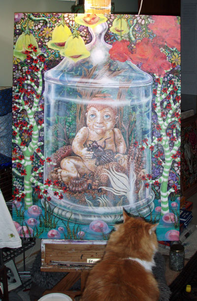 "My thought was to encase them in a yellow blossom. Double crap! On the upper right you can see the start of the ""Boo-Boo Berries"" which became the solution to the pod problem or the cover-up for my ""boo-boo."" As you can see in this shot, one of my cats is critiquing the painting…he gives really harsh crits. So at this point, I was so concerned that I wouldn't finish the painting in time for the Indianapolis show, that I completely forgot to take any additional progression shots. In the final piece, you can see I changed the berries in the water and added a reflecting pattern. Now the vessel is surrounded by the garden instead of placed in front of it, and I am quite pleased with the final results."