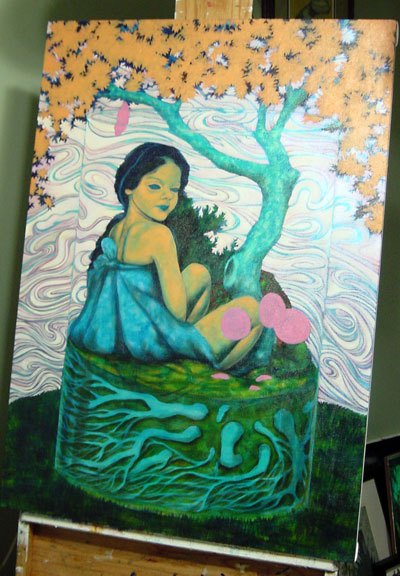 Layering up the leaves, still debating on the shape of the tree. The arched shape seemed to make sense, but... Changed my mind on the shadows on her skin, at least for now. It is easier to see the cocoon shape hanging from the tree. In the past, I have worked a lot with insect imagery and thought the cocoon might be a useful metaphor in this piece, but changed my mind. You will notice that only the doll terrariums have insects. I will talk more about that once I analyzed the next piece.