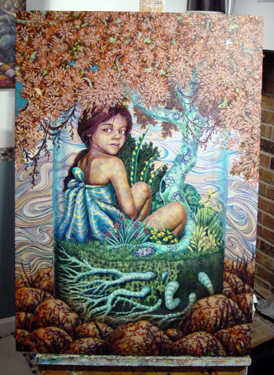 More plants inside and I started to bring back the shadows on her skin. When this piece returns from the Indianapolis Art Center on April 20, 2008, I may add more plan life to the inside of the jar. At least more color. I also started stippling (using tiny dots) for the moss in the bottom of the jar.