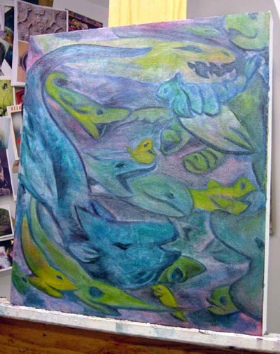 I began the piece with the color field and swimming creatures...