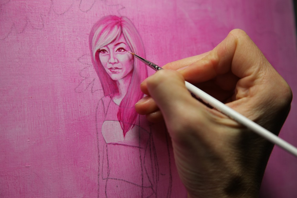 Getting the details in her face. This is a still from the time lapse video I am creating while working on this painting.