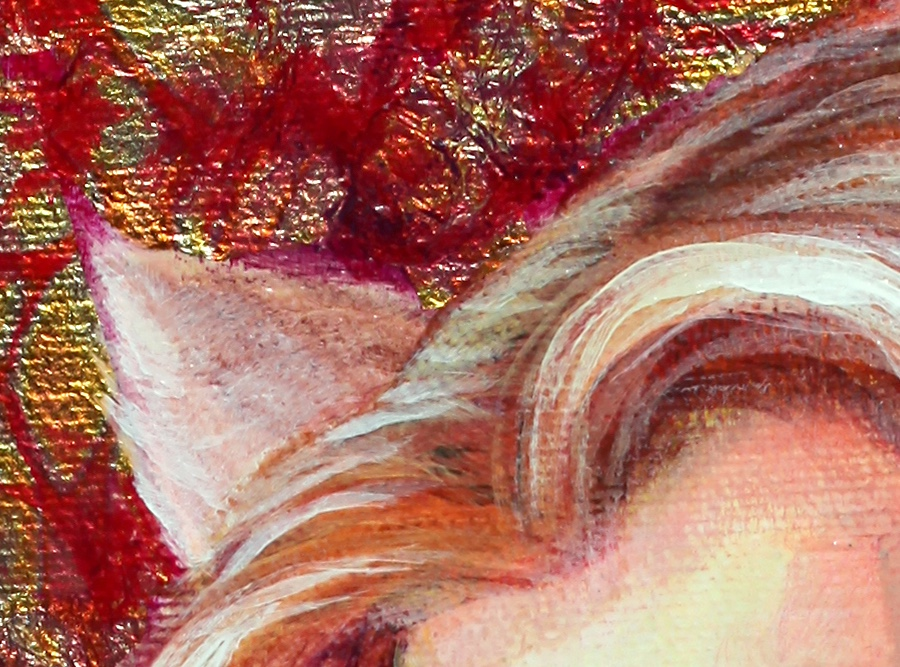 Detail of hair and gold foil background.