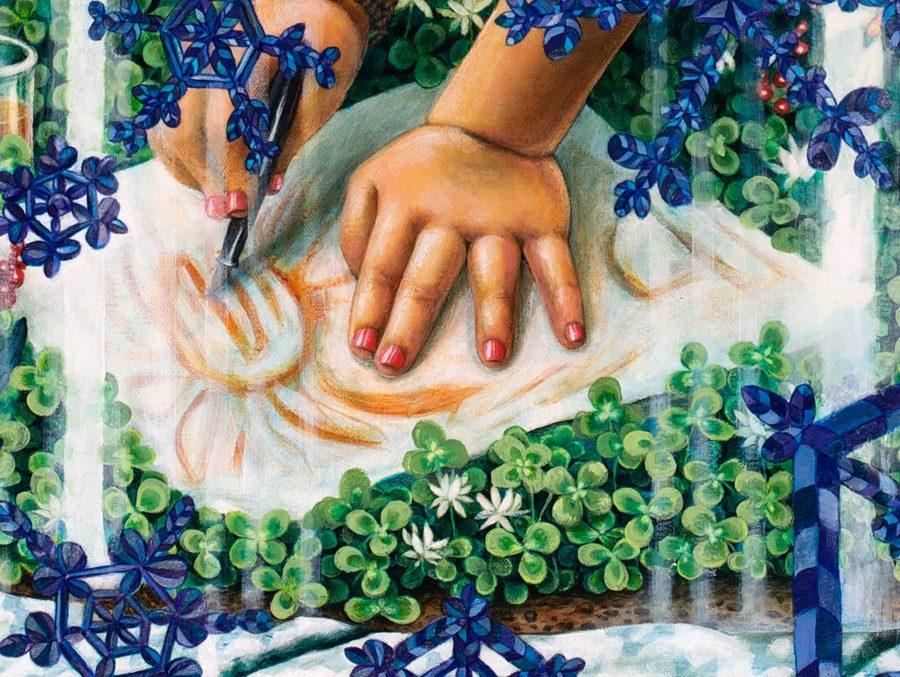 Detail of hands.