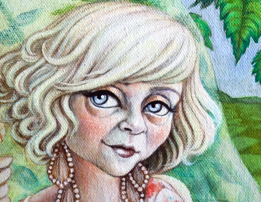 Detail of her face.