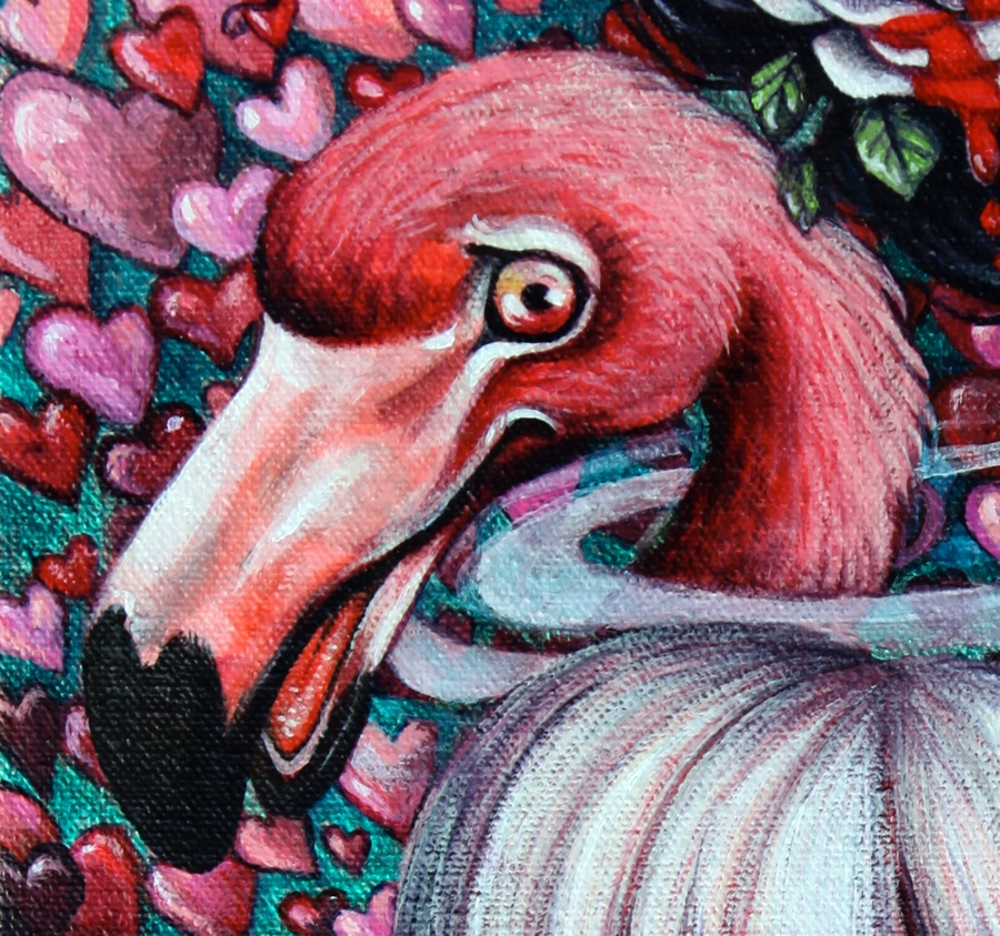 Detail of the flamingo.