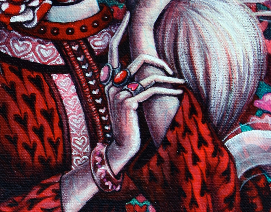 Detail of the hands and dress.