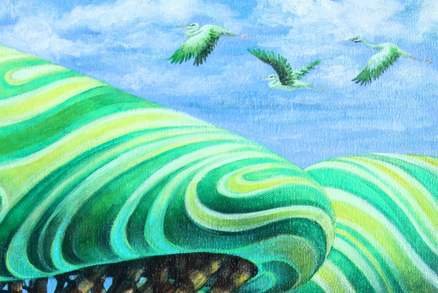 Detail of herrings and tree tops.