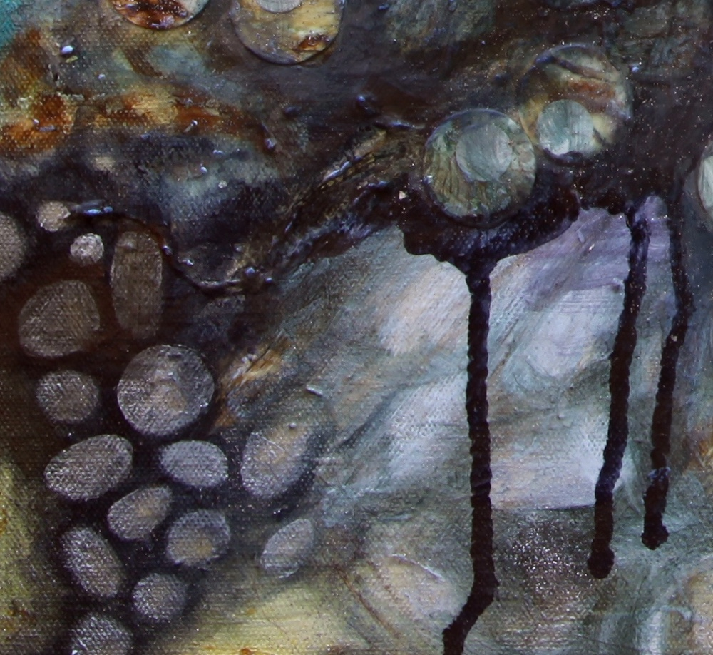 Detail of drips and pebbles.