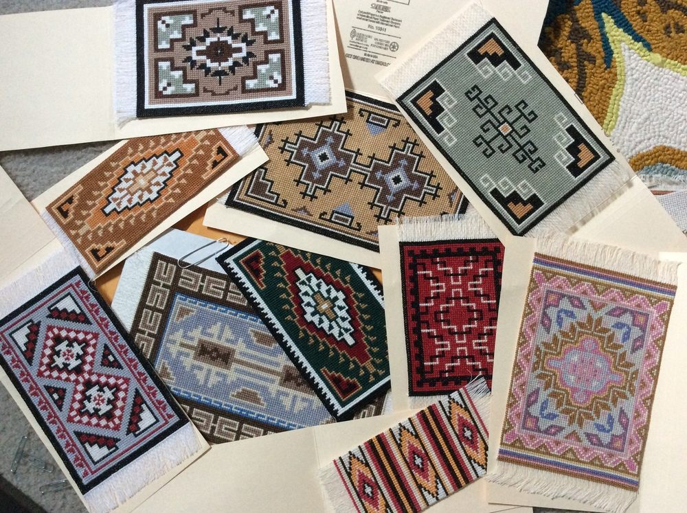 Lots of colorful rugs! Living in Tucson, my Step-Mom created fun South West inspired designs.
