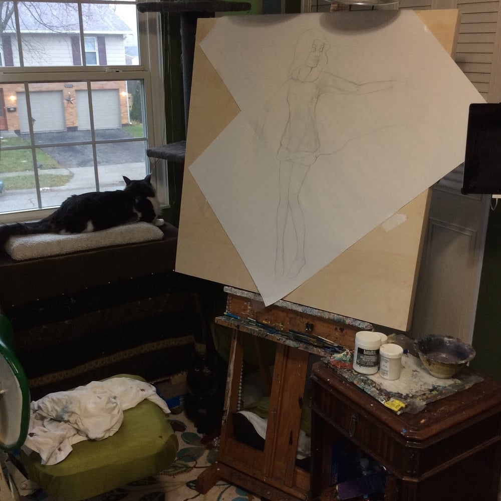 Working on figure scale and posture with the drawing taped to the panel for stability.