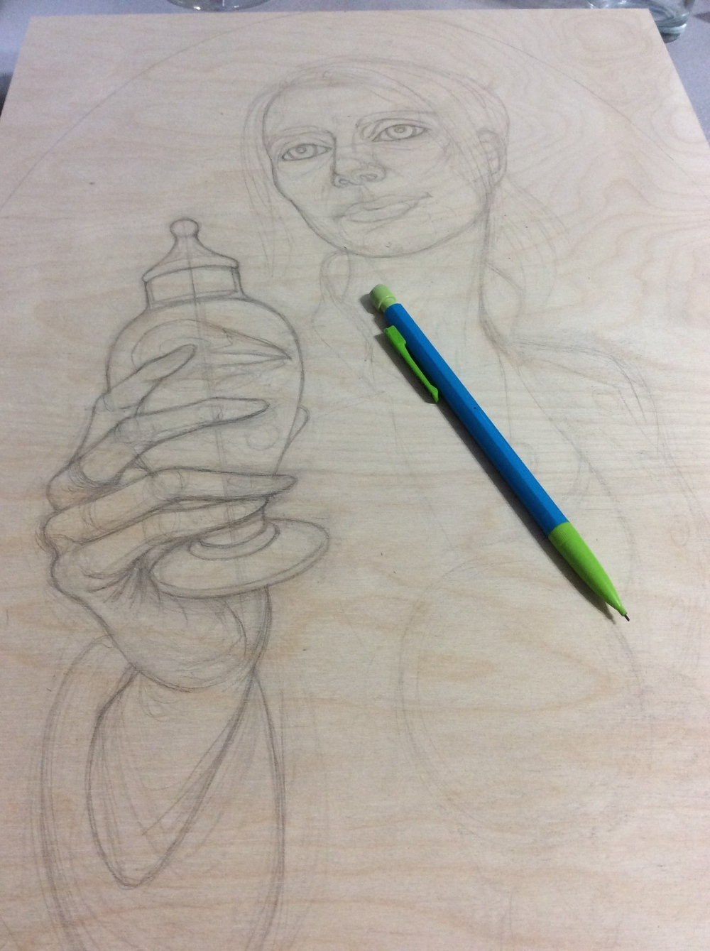 Sketch directly on wood panel.