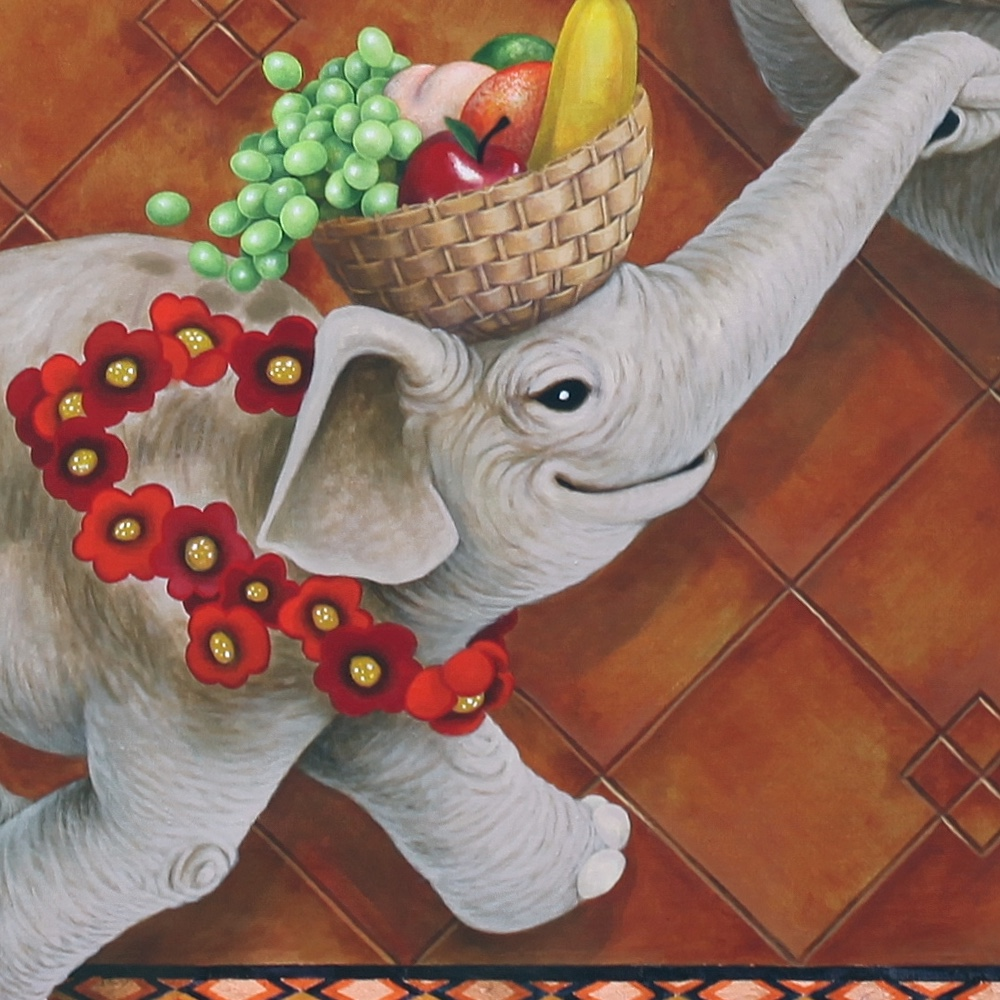 Detail of girl elephant.