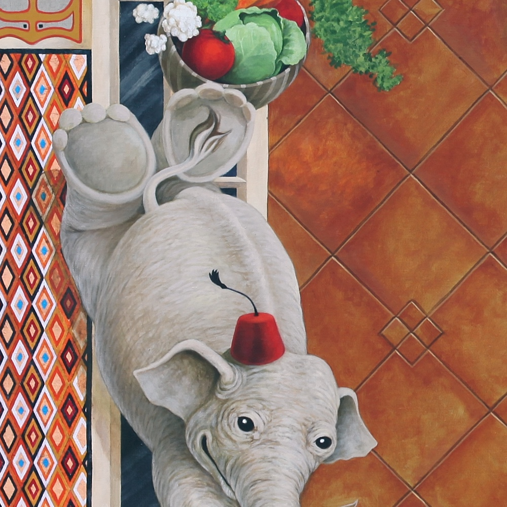 Detail of boy elephant.