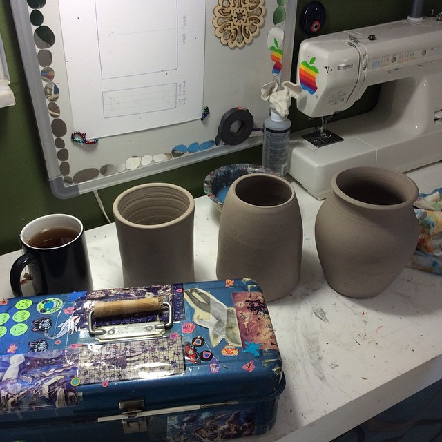 Here are some of the thrown vessels Bruce dropped off at the studio for me to mangle...err alter.