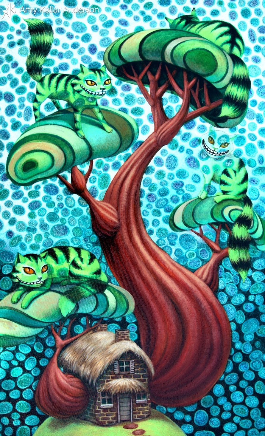 "Cheshire Tree   : acrylic and glitter on canvas : 16"" x 26"" : 2012   Collection of Z. Pate •    Studio Images  •      G    oodies"