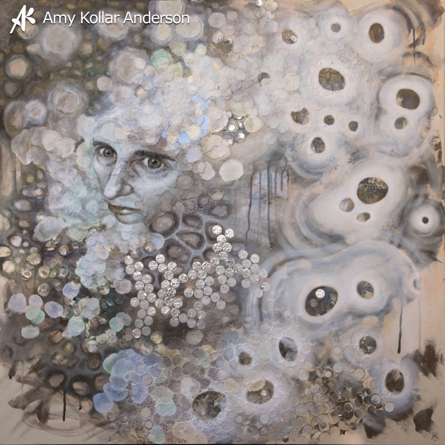 "Ruminate   : acrylic, glitter and paper on canvas : 36"" x 36"" : 2013   Collection of P. Frye •    Studio Images"