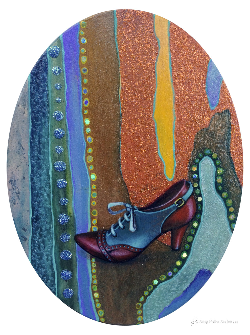 "Sole   :  acrylic paint, glitter, glass beads and pouring medium : 6"" x 8"" x 1"" : 2015   Available"