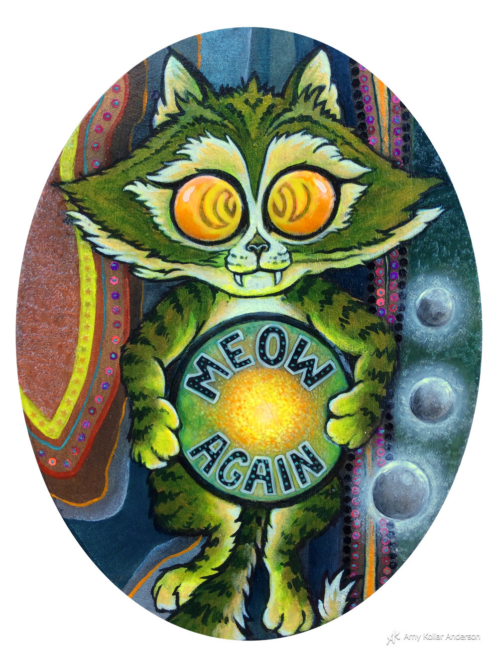 "Meow Again   : acrylic paint, glitter, pouring medium and glass beads : "" x 8"" x 1"" : 2015 Collection of S. & R. Hensley"