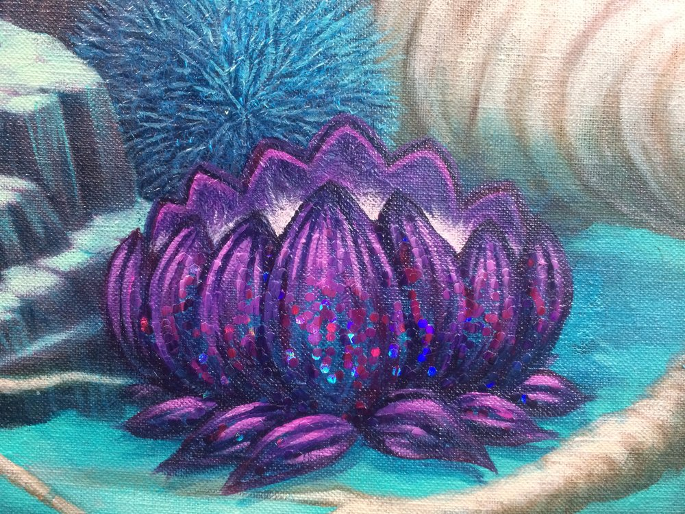 Detail of glitter lotus in progress
