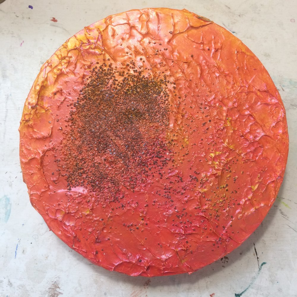 (A) Start, heavy gel medium, grit texture, acrylic.