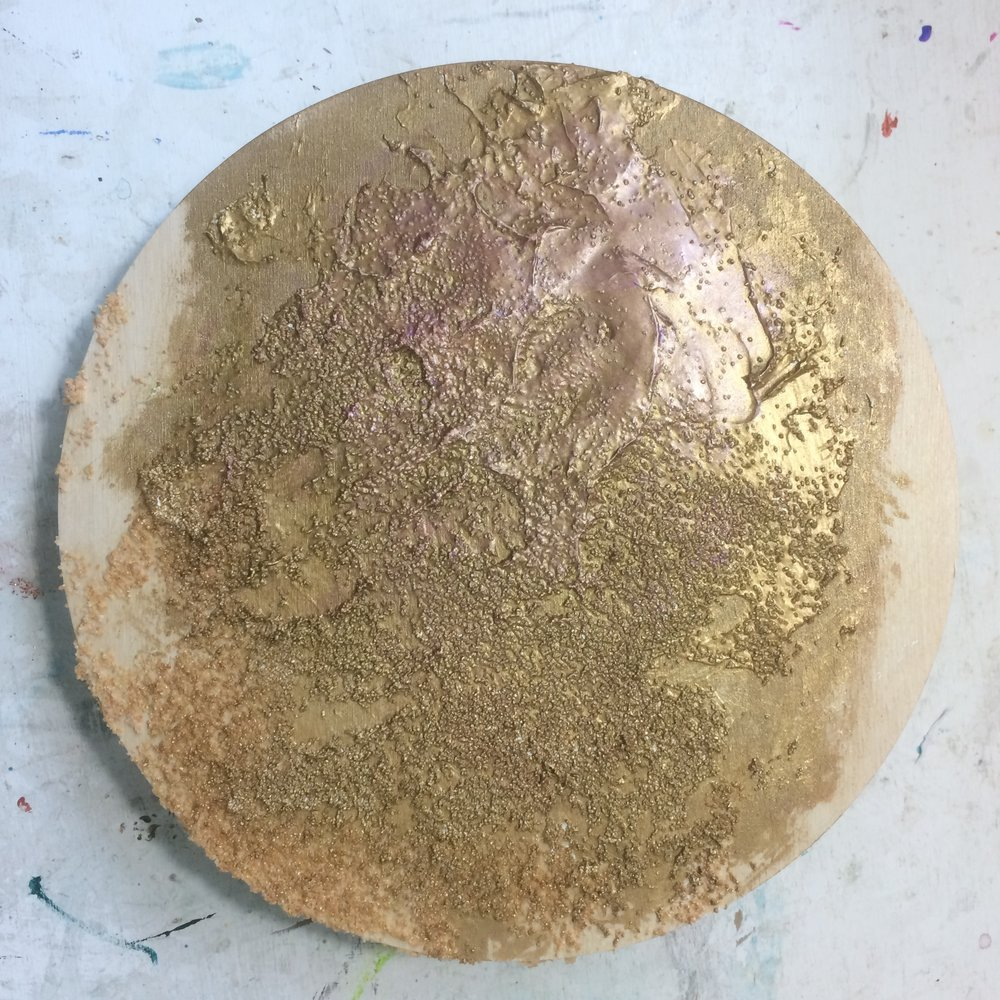 (A) Start, sand texture, heavy gesso, brushed gold.