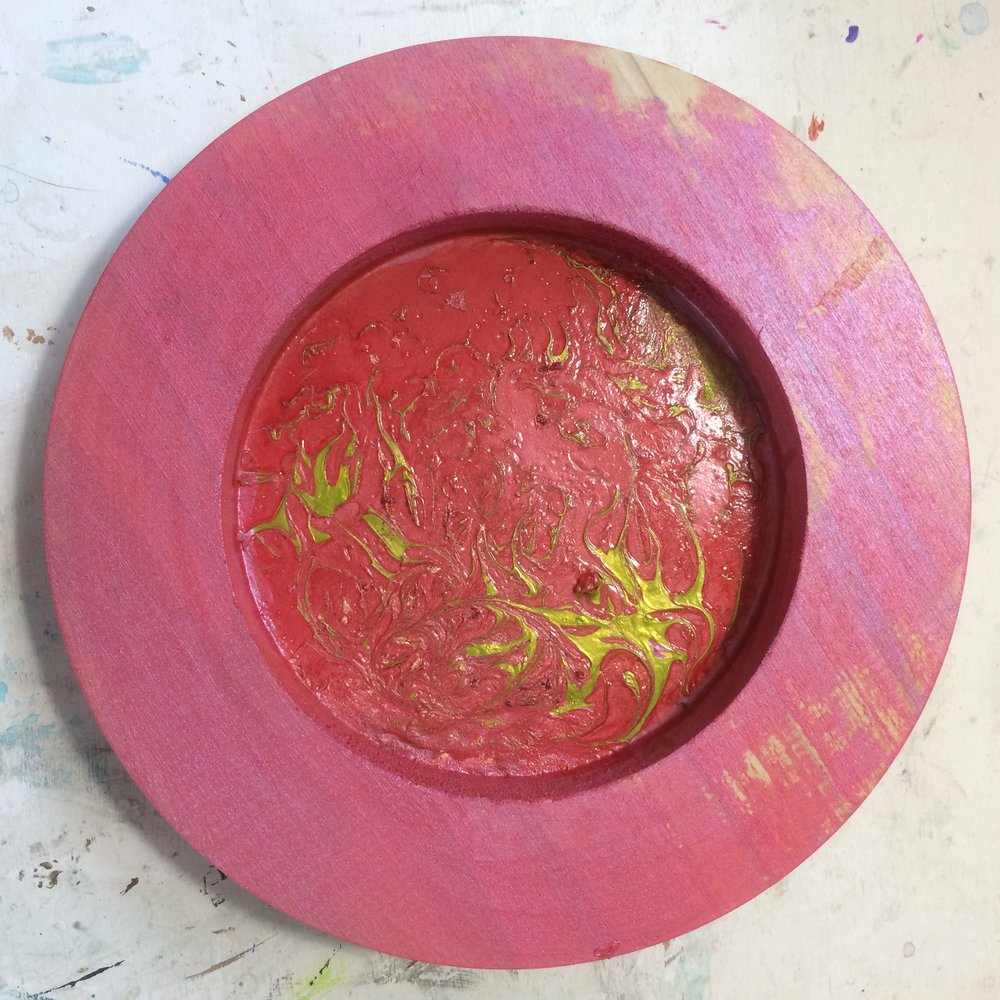 (A) Start, Red laquer, acrylic paint, dusting of gold pigment.