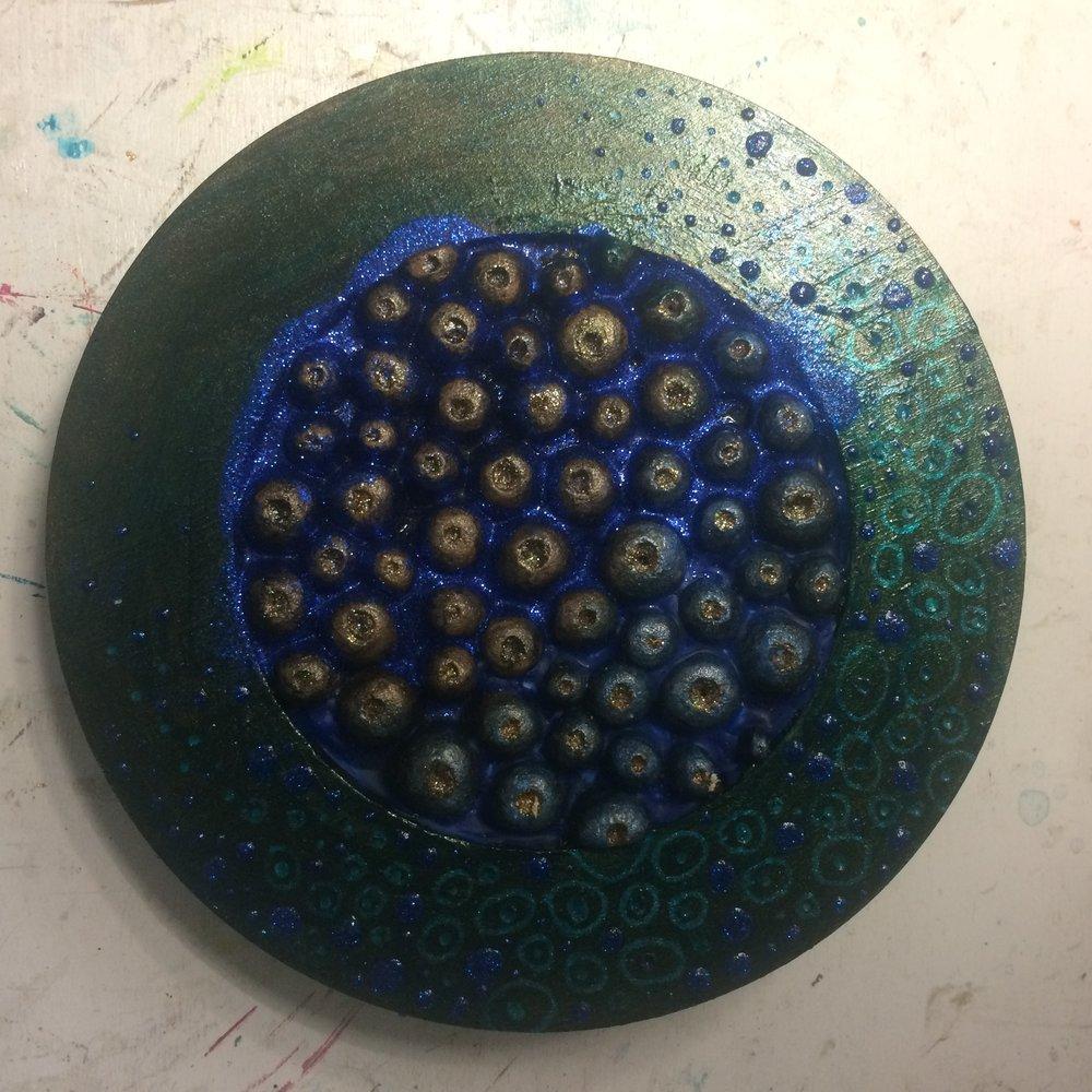 (A) Turquoise glaze, blue glitter.