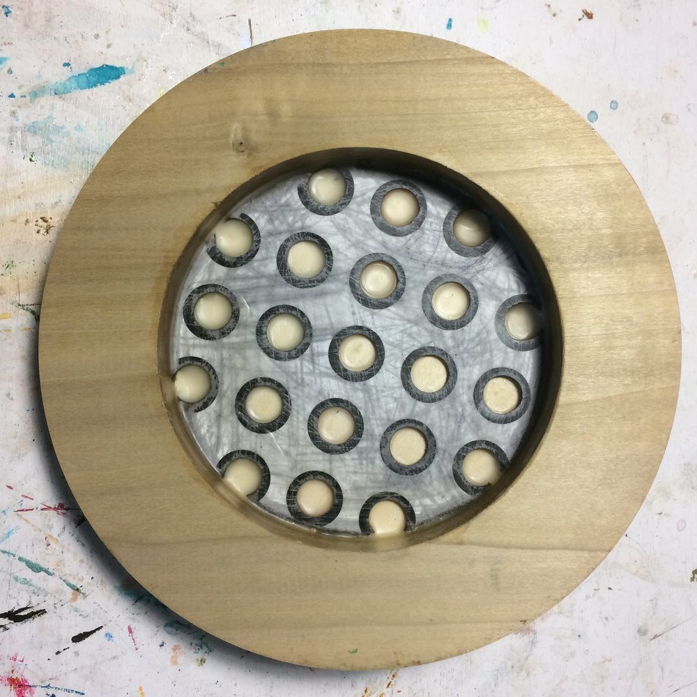 (K) Start. Circle cut-out board and wax.