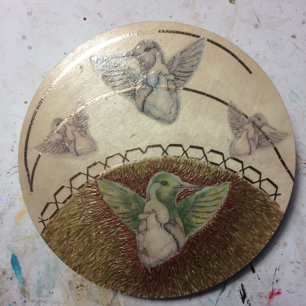 (K) Brushed bird with green pastels, surrounded bird with metallic encaustic.