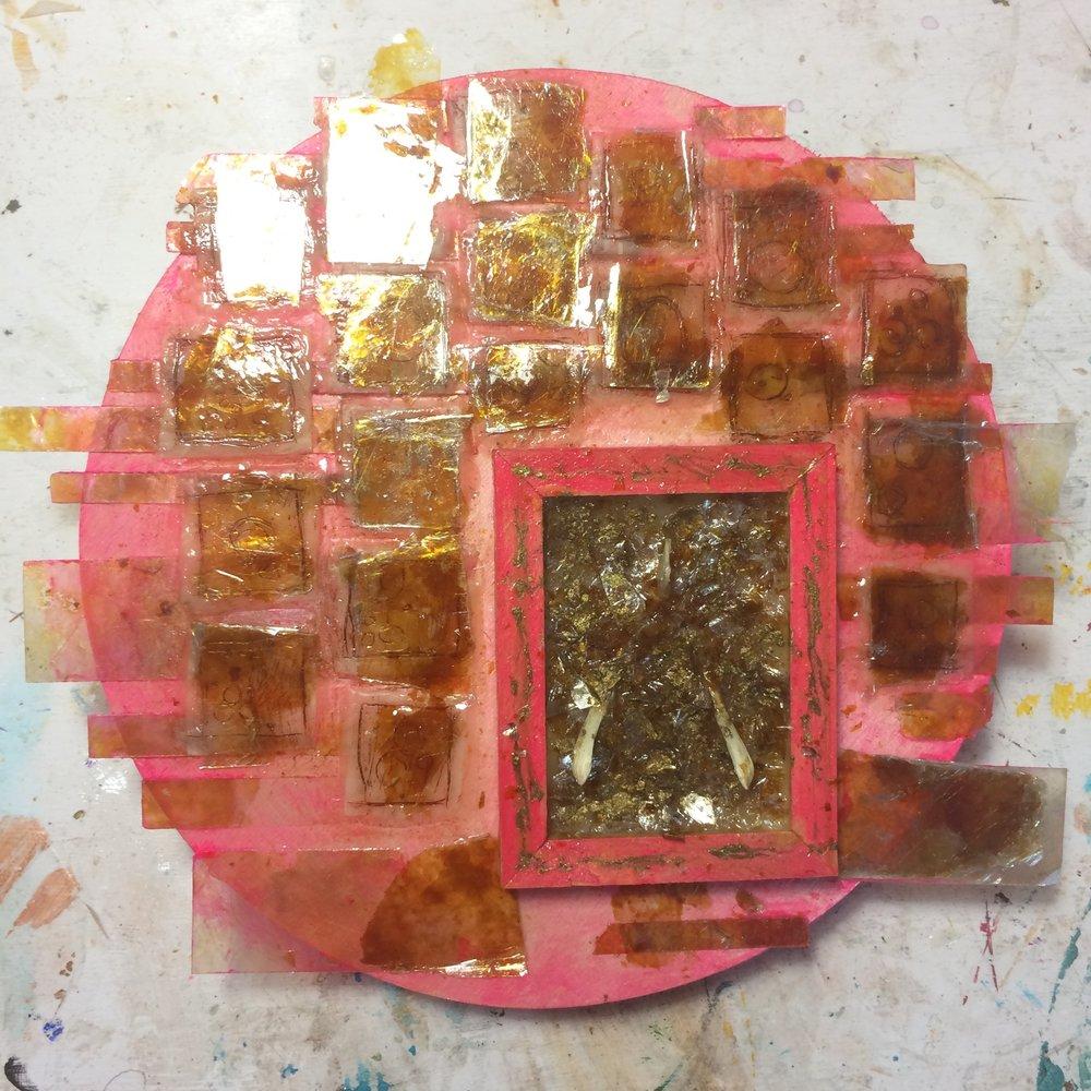 (A) Mica squares, gold pigment.