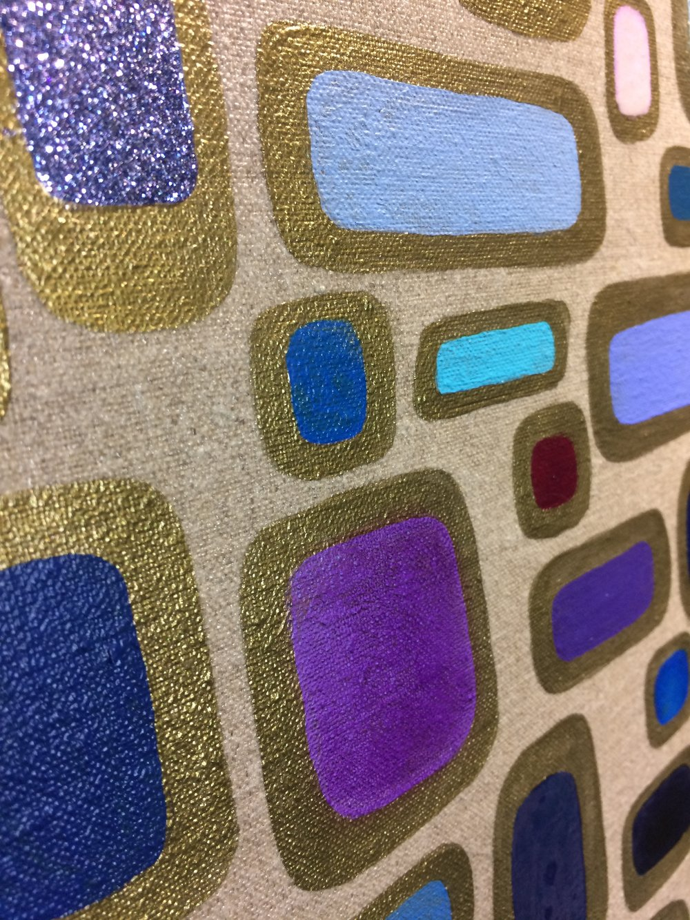 Detail of base colors with a glitter center.