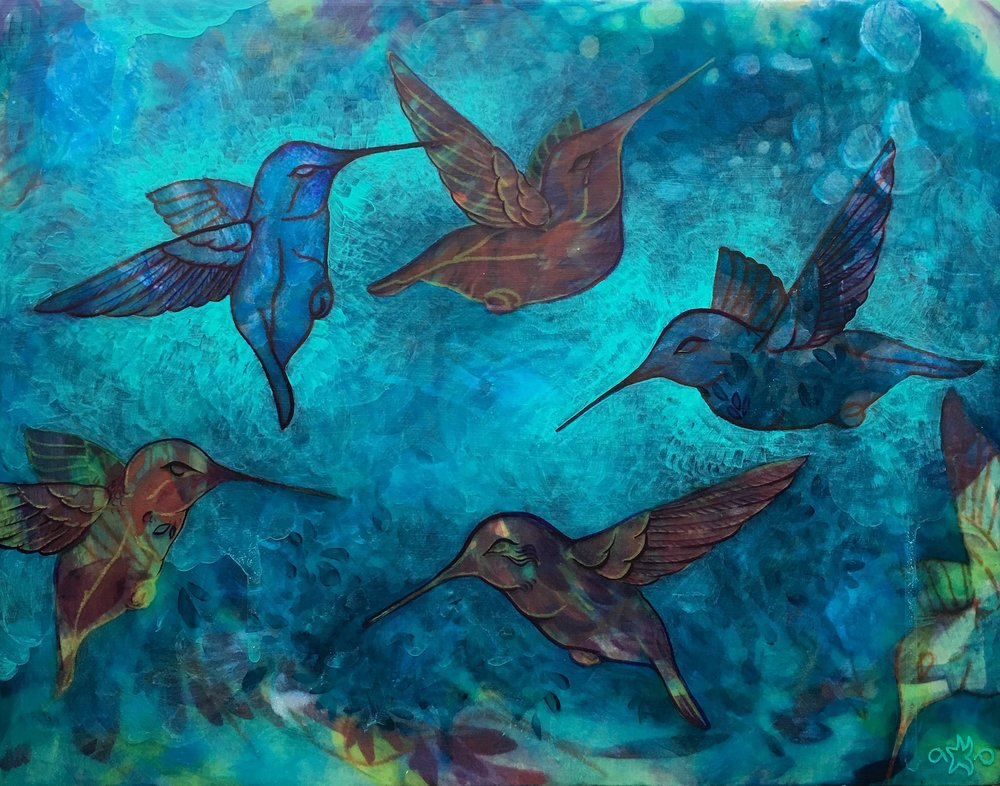 Layer of teal brushwork around birds to make them pop.