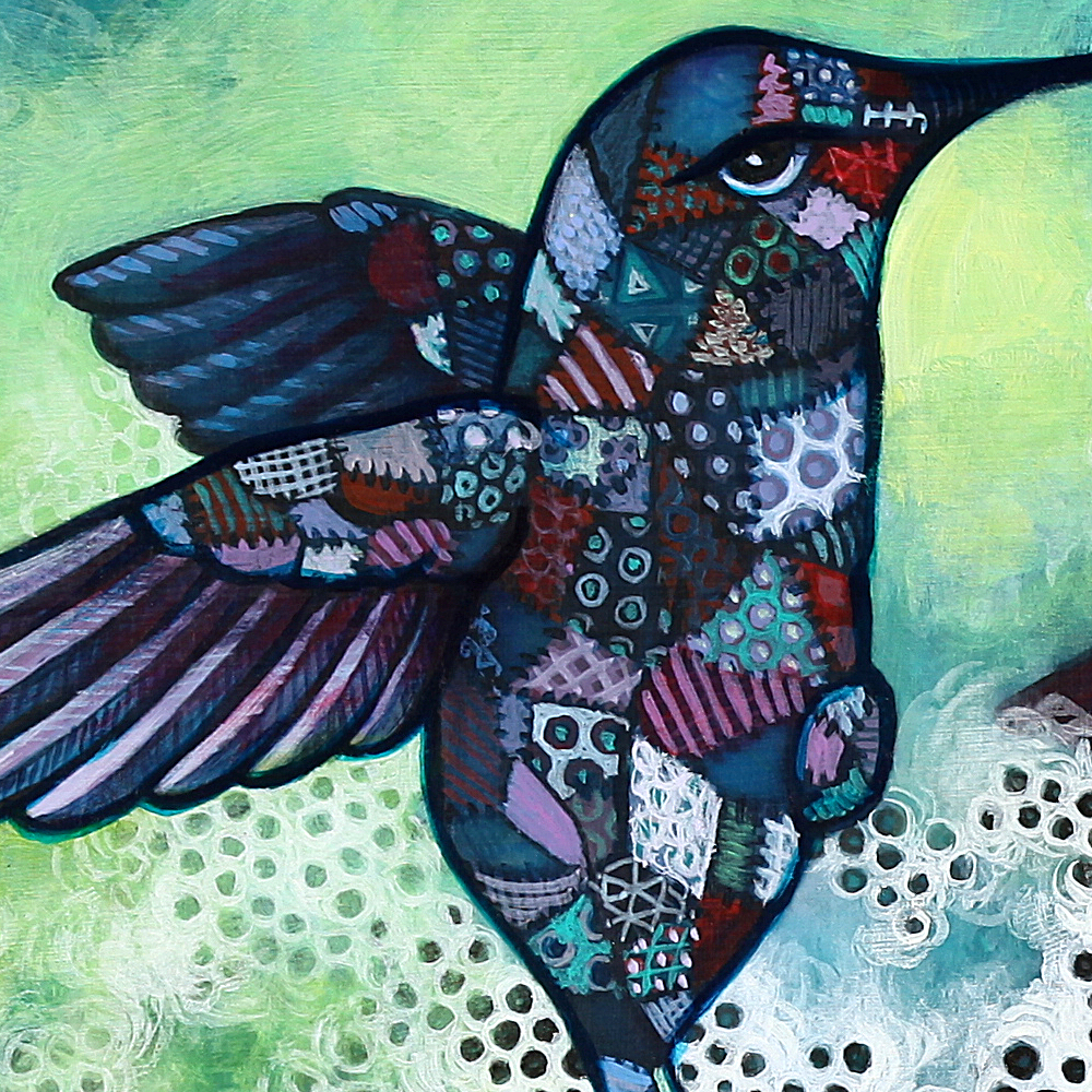 Detail of final upper left bird with crazy quilting.