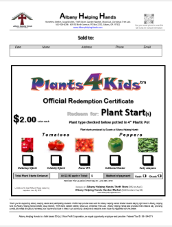 Sample of Plants4Kids™  Redemtion Certificate issued to customers