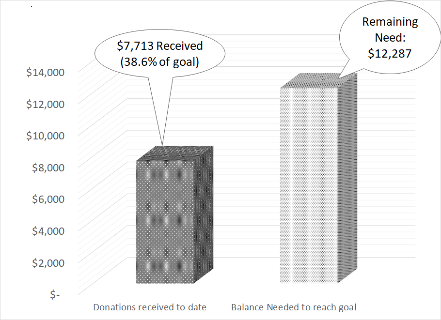 To date we've raised $13,390 (67%) of our $2,000 goal.
