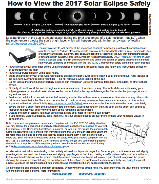Click here  to download PDF of this poster.  WARNING: DO NOT LOOK DIRECTLY AT THE SUN even for a fraction of a second.  The exception is for those in the narrow 60 path of totality (sun 100% blocked) and then only during the 2 minute or less total phase of a solar eclipse.  At the AHH Shelter in Albany (see table of times of totality to left) , that period is from 10:17:07 to 10:18:57; 1 minute 50 seconds in length.  For example, Eugene is outside of the path of Totally so there is no time it's safe for viewing with naked eye or non filtered camera even though the sun is just about covered, some 99.26%.  That is less than 1 percent (0.74%) of the sun showing. If the Sun is not 100% covered It is unsafe for naked eye viewing.   The same applies to damaging the photo sensors on cameras, CamCorders, Smart Phones, Tablets and Web Cams.  Do not shoot pictures or videos that are aimed near the sun. The Sun's brightness may damage your devices photosensors.  For information on where to find safe Eclipse glasses, how to check safety certification and the pin hole projection viewing technique click   here  .