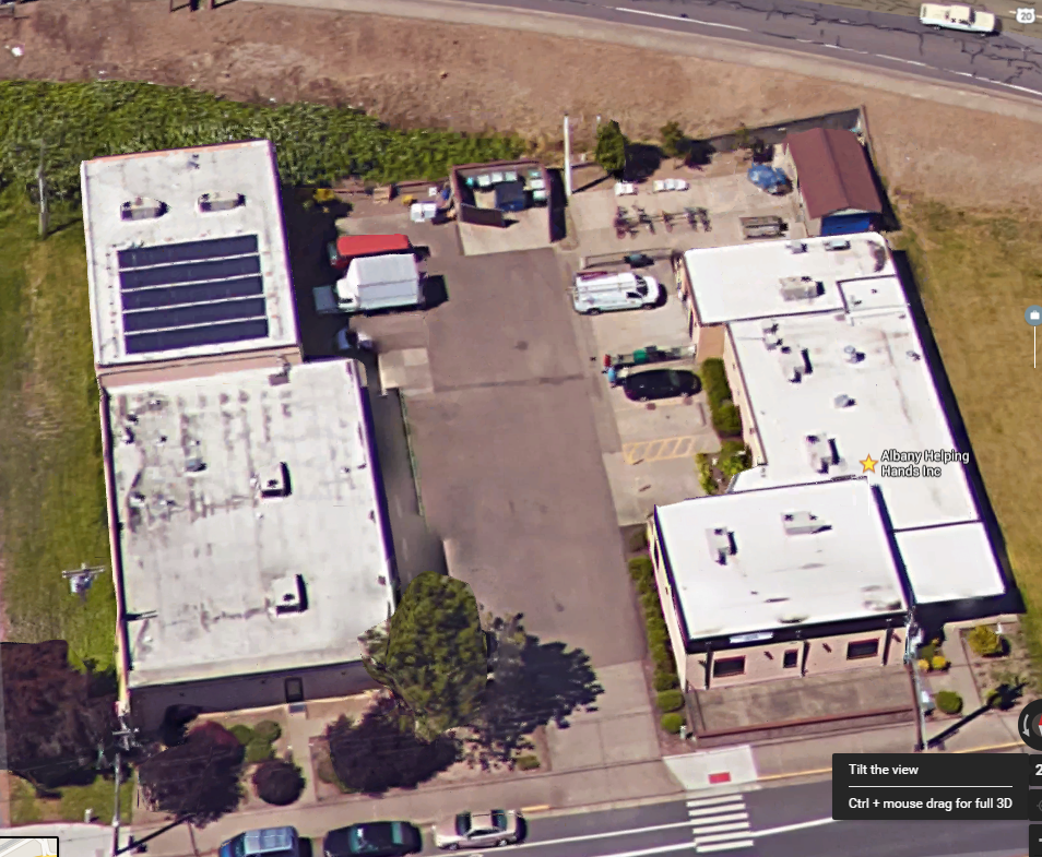 Albany Helping Hands main facility at 619 SE 9th Avenue, Albany from Google Earth.