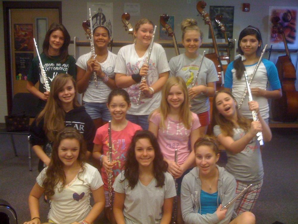 Students at a summer flute workshop