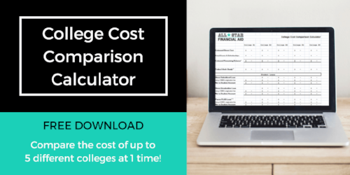 Still deciding on what college to attend? The College Cost Comparison Calculator can help you and your student narrow down the college choices. Comparing college cost will allow you and your child to …  - Eliminate any college the family is unable to afford -Determine if more aid can be received from another college  - Establish what will need to be paid out of pocket    -Decide on a financial plan to pay for college -Make a sound financial decision  Free Download  - College Cost Comparison Calculator