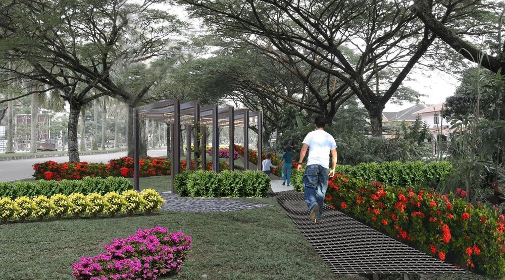 Landscape Design concept overlay on existing roadway.