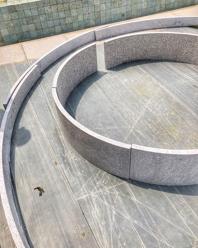3 meter diameter curved flamed #granite ready to be installed...can't wait to see the end result, although seeing it like this will make the end result even more satisfying! #exhalegroup #architecture #stone #construction