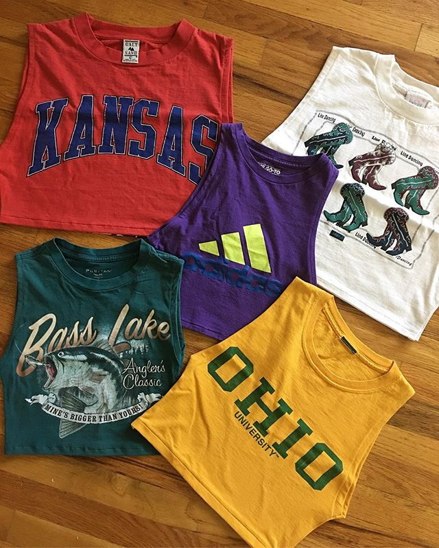 We have a ton of these cropped tanks made from vintage tees that we will be selling for $45 at @urbanfleamarket this SUNDAY!!