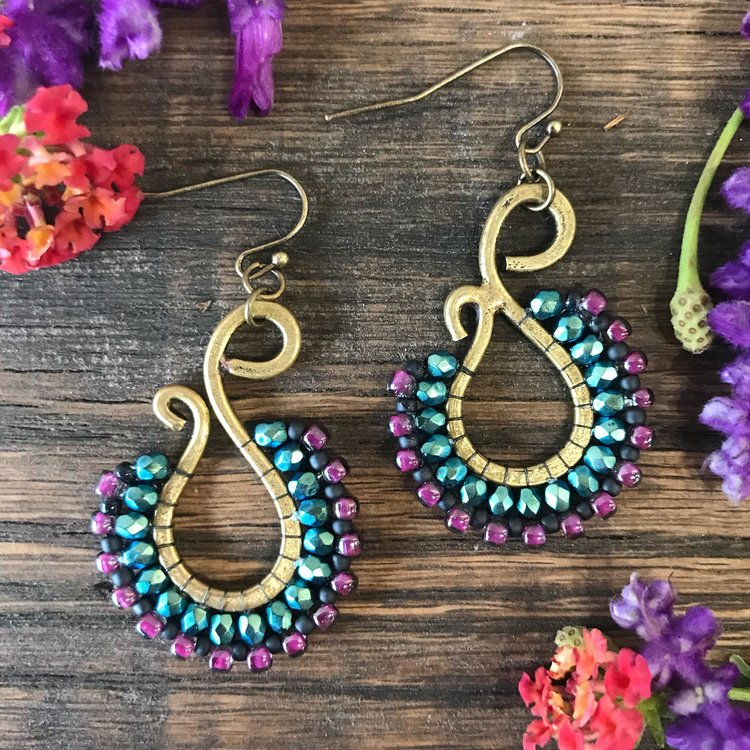 earrings beading tutorial patterns hugerect pattern bead cascade sunset stitch product brick simple