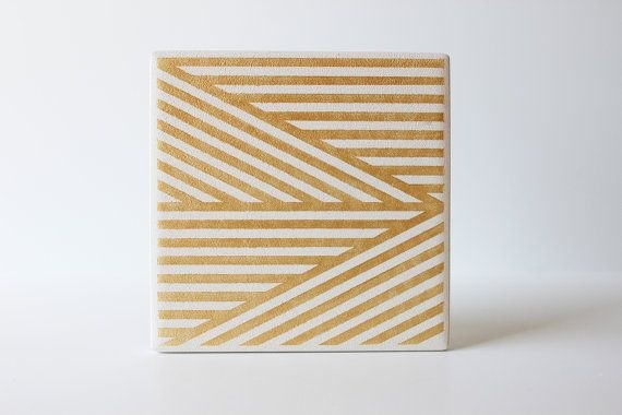 Gold Stripe Coasters by theCoastal