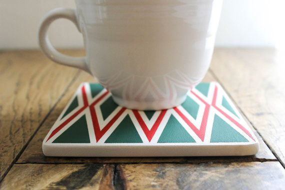 Hand painted Christmas coasters by The Coastal