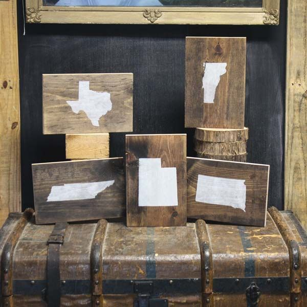 Wooden State Prints by Field Treasure Designs