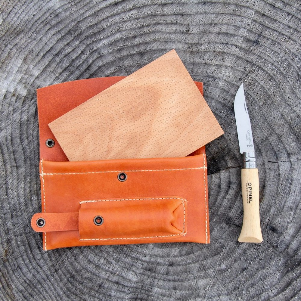 portable cutting board and knife set by dig + Co