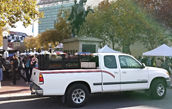 Yaron's pickup with 2,000lbs of produce from the Heart of the City Farmers Market.