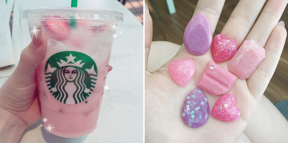 [left: pink Starbucks; right: playing with resin]